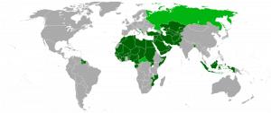 Staaten der islamischen Konferenz - Karte von Wikipedia