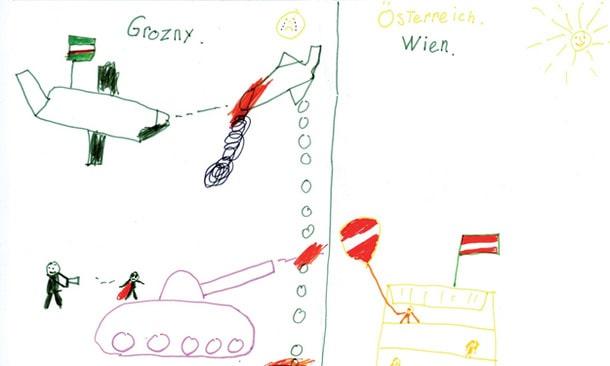 Zeichnung eines Kindes, das mit seinen Eltern aus Tschetschenien geflohen ist und beim Verein Hemayat therapeutische Hilfe bekommen hat.