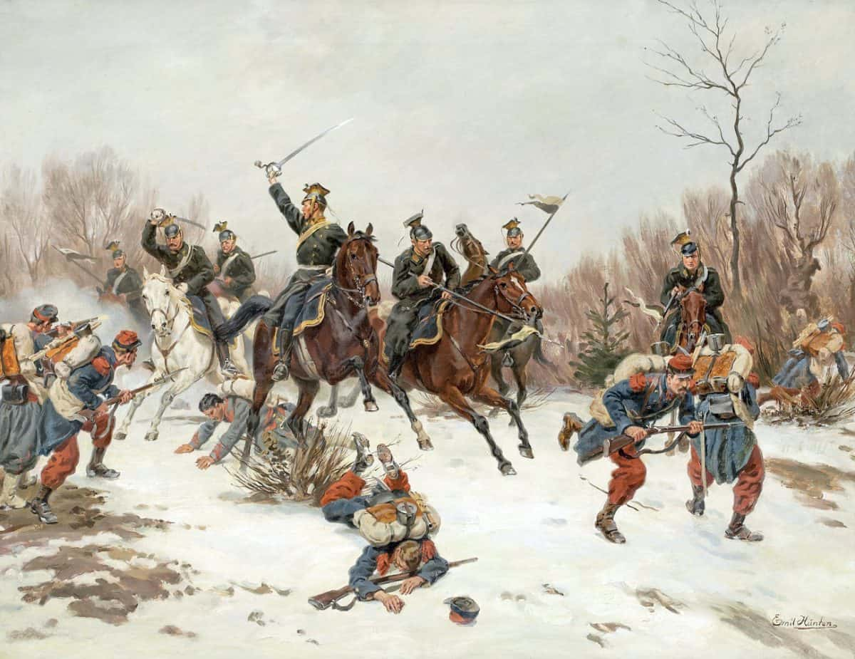 Preußische Ulanen im Gefecht mit französischer Infanterie